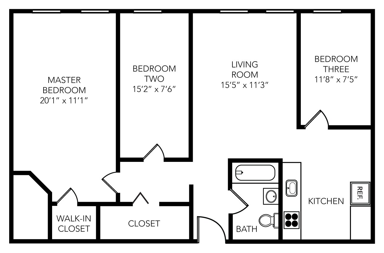 3 Bedrooms 1 Bathroom Apartment for rent at Schoolhouse Flats in Tampa, FL