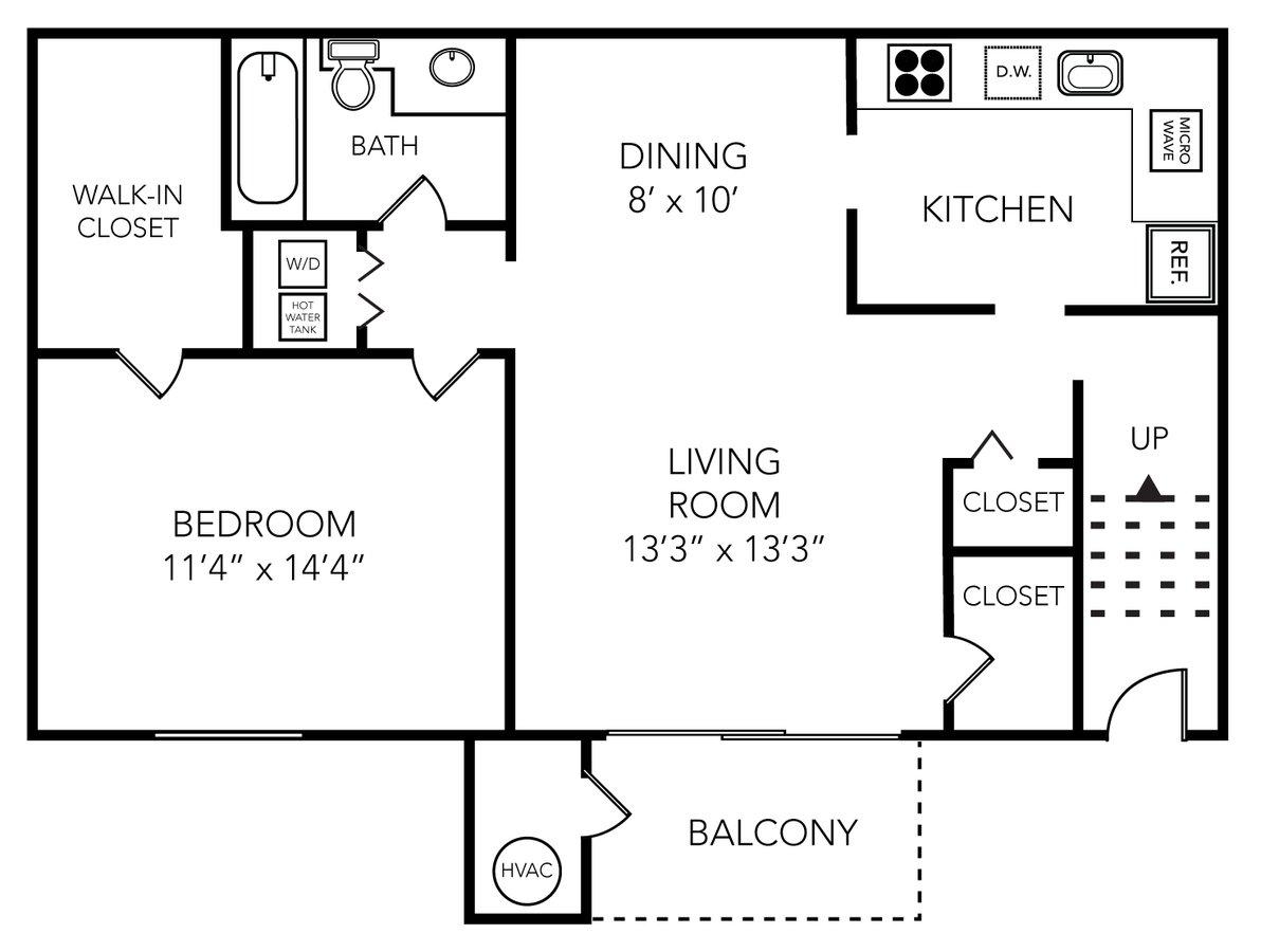 1 Bedroom 1 Bathroom Apartment for rent at Meadowbrook Village in Ann Arbor, MI