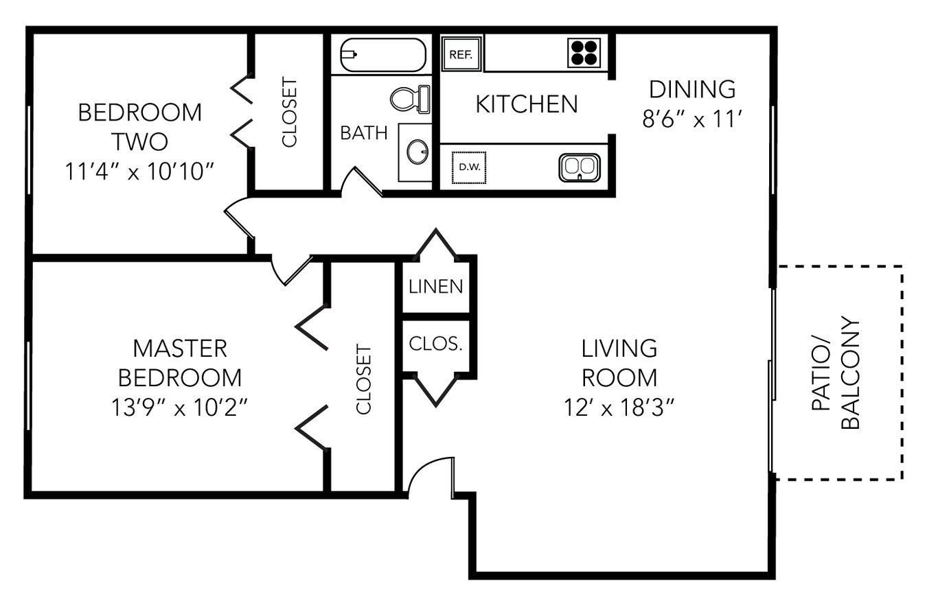 2 Bedrooms 1 Bathroom Apartment for rent at Spruce Knob in Ann Arbor, MI