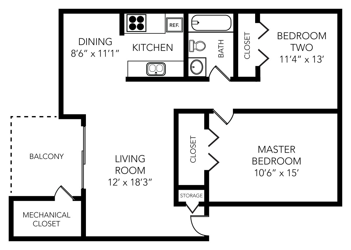 2 Bedrooms 1 Bathroom Apartment for rent at Park Place in Ann Arbor, MI