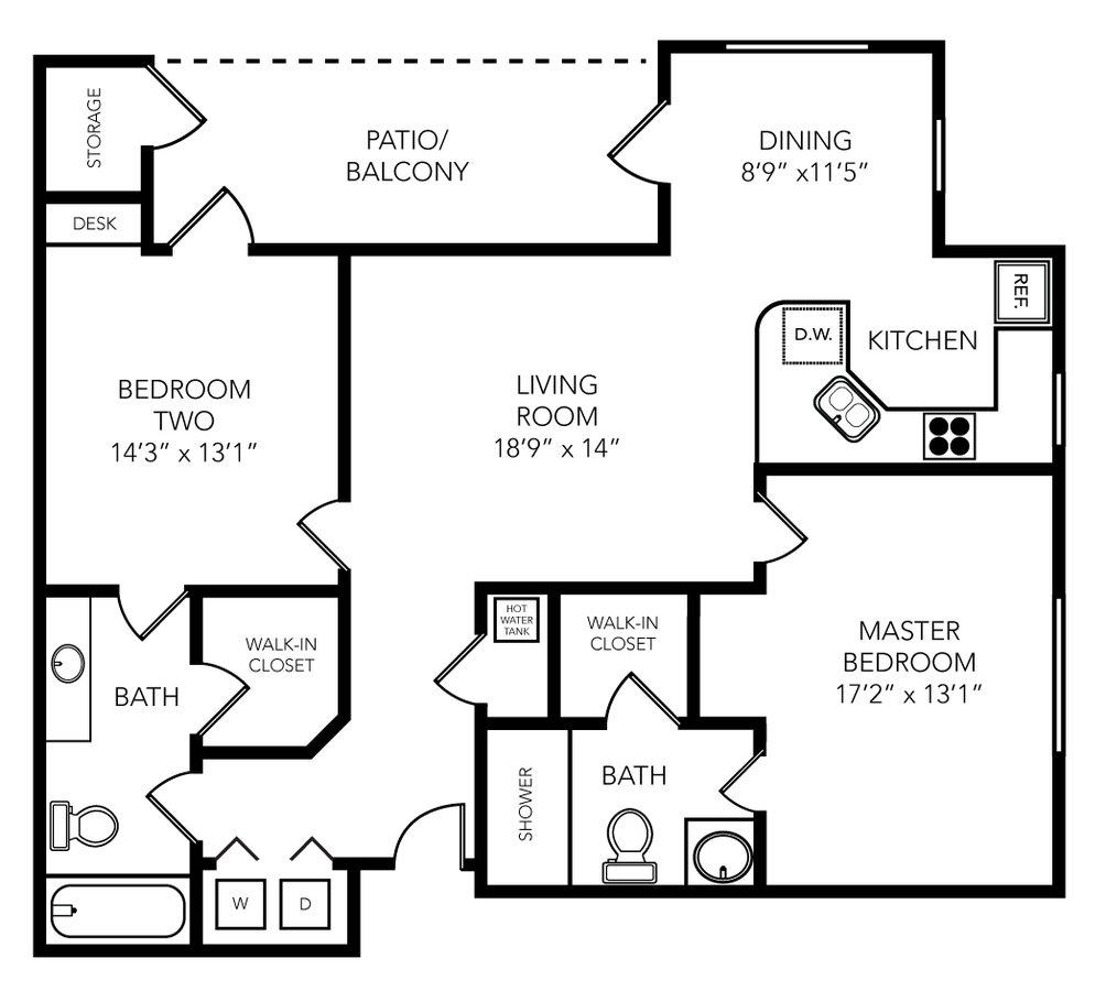 2 Bedrooms 2 Bathrooms Apartment for rent at Palio Apartments in Orlando, FL