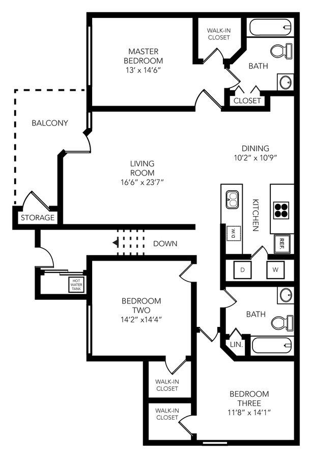 3 Bedrooms 2 Bathrooms Apartment for rent at Palio Apartments in Orlando, FL