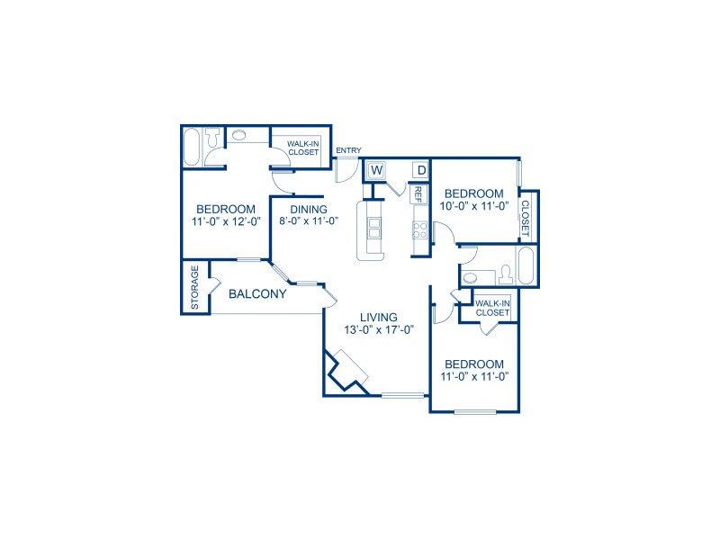 3 Bedrooms 2 Bathrooms Apartment for rent at Bella Solara in Las Vegas, NV