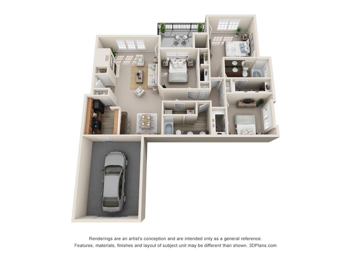 3 Bedrooms 2 Bathrooms Apartment for rent at Talavera Apartments in San Antonio, TX