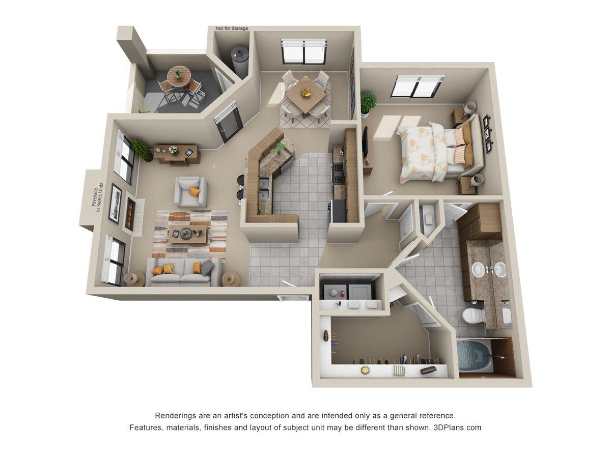 1 Bedroom 1 Bathroom Apartment for rent at San Montego Luxury Apartments in Mesa, AZ