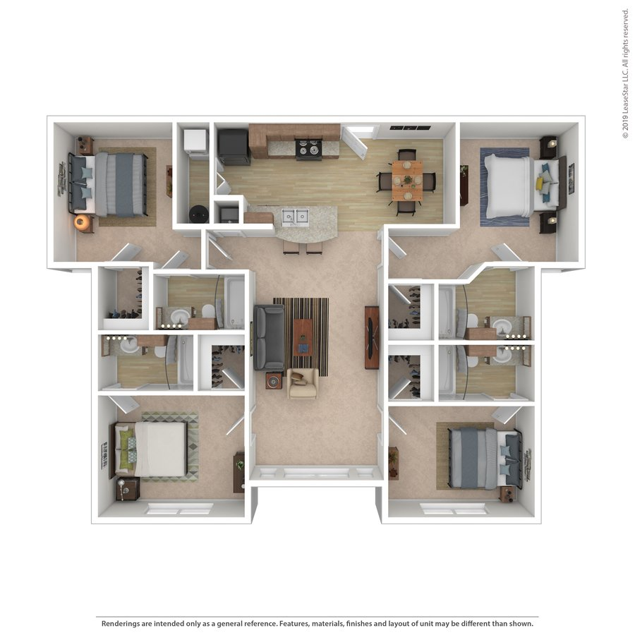 4 Bedrooms 4+ Bathrooms Apartment for rent at Midtown University Living in Corpus Christi, TX