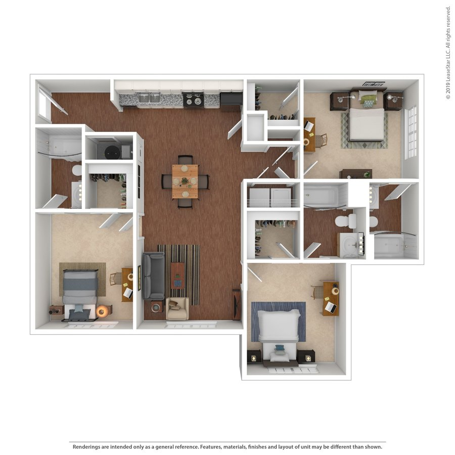 3 Bedrooms 3 Bathrooms Apartment for rent at The Social @ Auburn in Auburn, AL