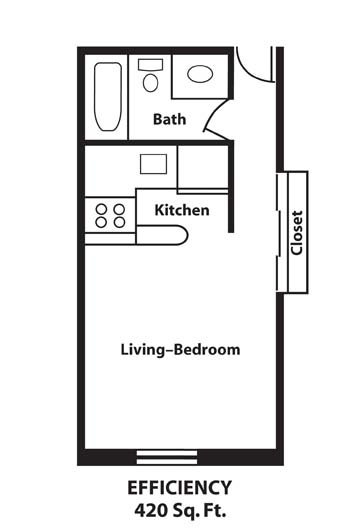 Studio 1 Bathroom Apartment for rent at The Normandy Apartments in Madison, WI