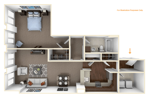 1 Bedroom 1 Bathroom Apartment for rent at The Residences At Carmel City Center in Carmel, IN