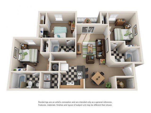 3 Bedrooms 3 Bathrooms Apartment for rent at The Alden in Birmingham, AL