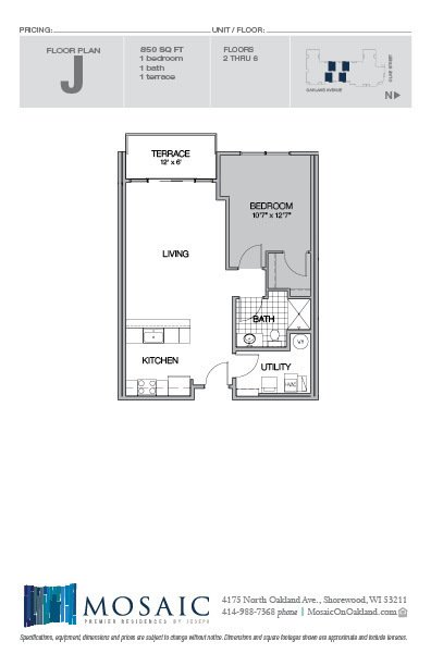 1 Bedroom 1 Bathroom Apartment for rent at Mosaic On Oakland in Shorewood, WI
