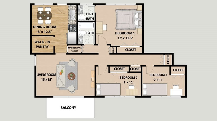 3 Bedrooms 2 Bathrooms Apartment for rent at Lincolnshire West Apartment in Dekalb, IL