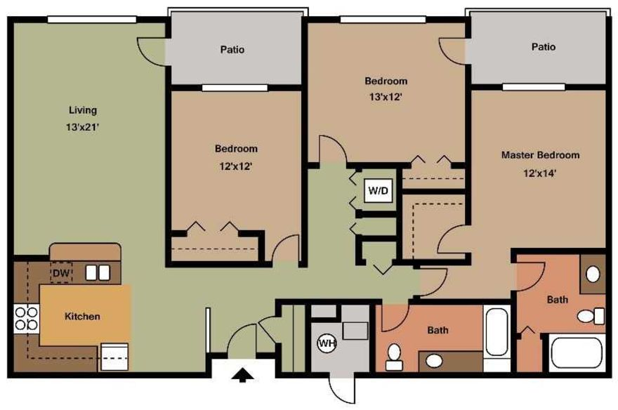 3 Bedrooms 2 Bathrooms Apartment for rent at Chatham Commons Of Cranberry in Cranberry Twp, PA