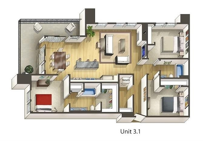 3 Bedrooms 2 Bathrooms Apartment for rent at Arbour Square Apartments in Westminster, CO