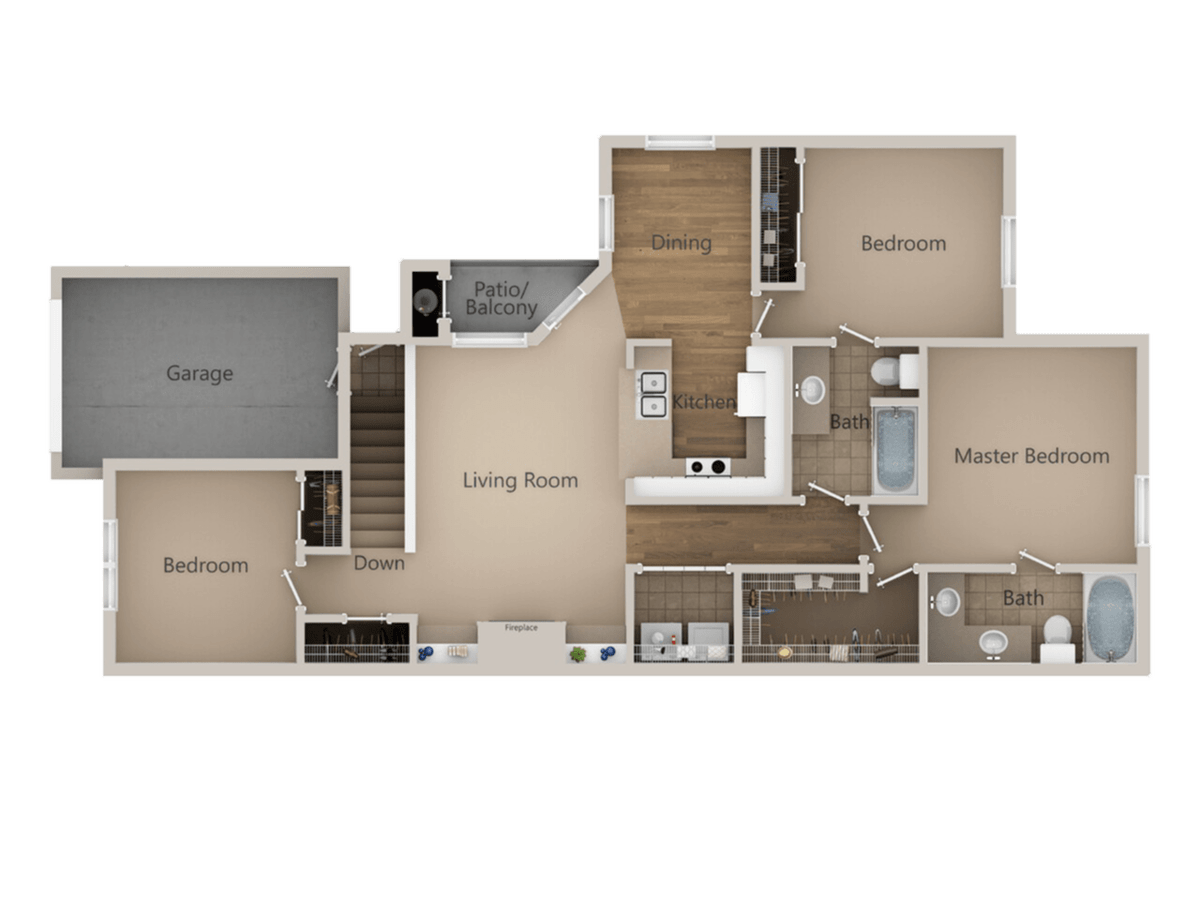 3 Bedrooms 2 Bathrooms Apartment for rent at Trailside Apartments in Parker, CO