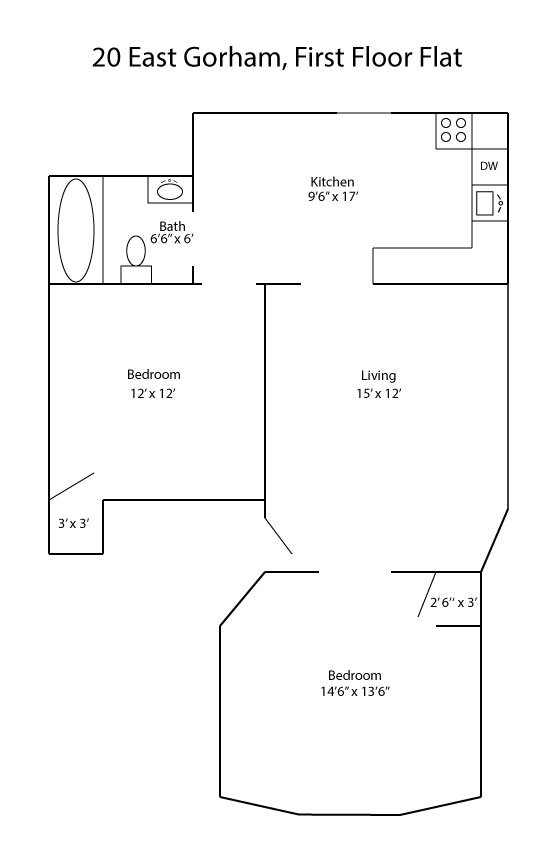 2 Bedrooms 1 Bathroom Apartment for rent at 20 E. Gorham Street in Madison, WI