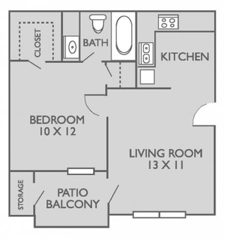1 Bedroom 1 Bathroom Apartment for rent at Bridgepoint Apartments in Waxahachie, TX