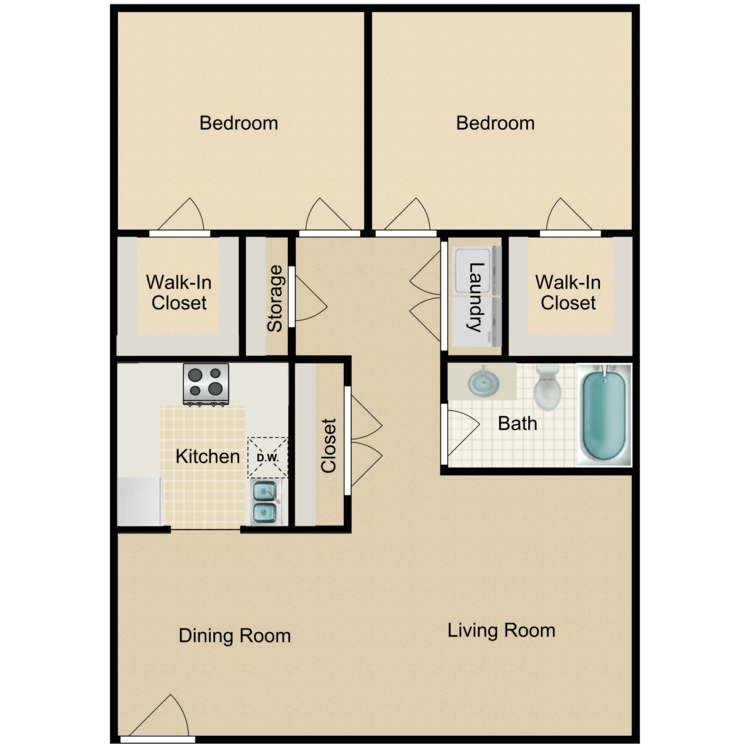 2 Bedrooms 1 Bathroom Apartment for rent at Victorian Square in Waxahachie, TX