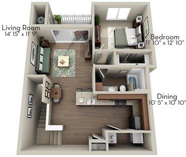 1 Bedroom 1 Bathroom Apartment for rent at Olympus Waterford in Keller, TX