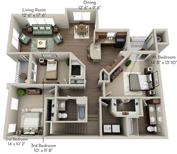 3 Bedrooms 2 Bathrooms Apartment for rent at Olympus Waterford in Keller, TX