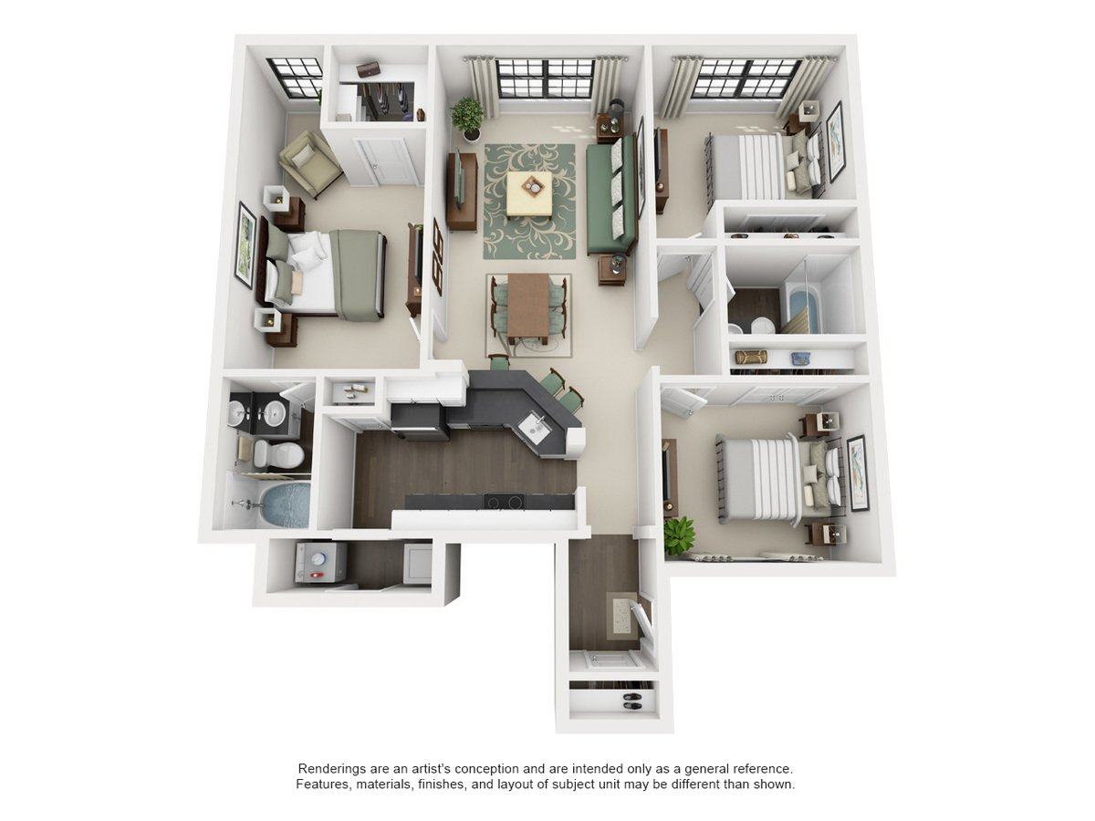 3 Bedrooms 2 Bathrooms Apartment for rent at The Meadows At North Richland Hills in North Richland Hills, TX