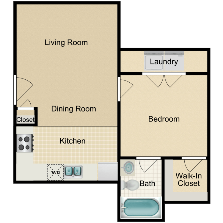 1 Bedroom 1 Bathroom Apartment for rent at Victorian Square in Waxahachie, TX
