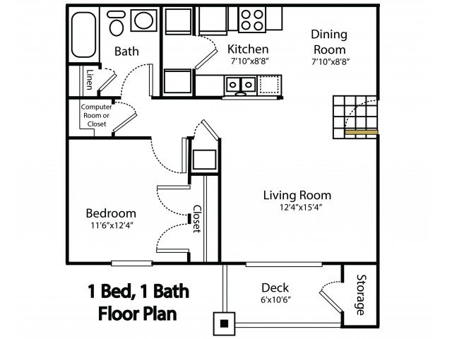 1 Bedroom 1 Bathroom Apartment for rent at Crosswood Apartments in Rogersville, MO