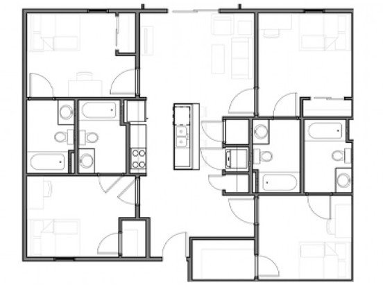 4 Bedrooms 4+ Bathrooms Apartment for rent at The Q'ube in Springfield, MO