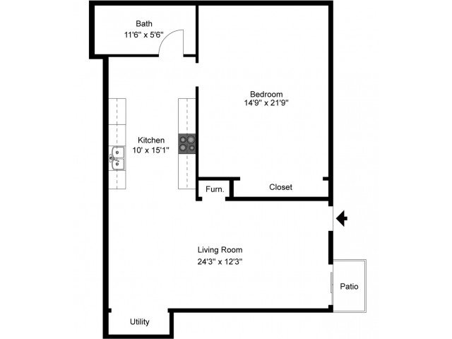 1 Bedroom 1 Bathroom Apartment for rent at The Pavilion On Battlefield in Springfield, MO