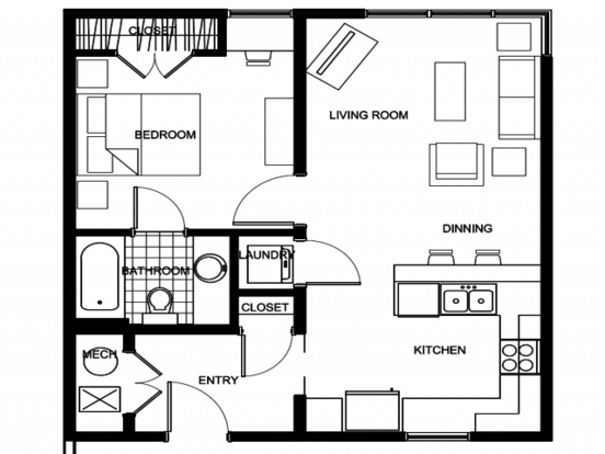 1 Bedroom 1 Bathroom Apartment for rent at Deep Elm in Springfield, MO