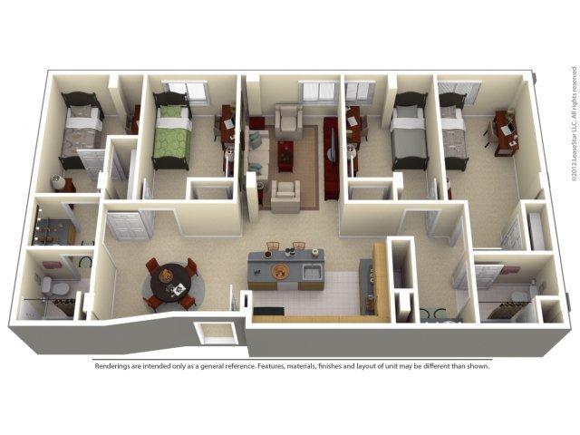 4 Bedrooms 2 Bathrooms Apartment for rent at 100 Midtown in Atlanta, GA