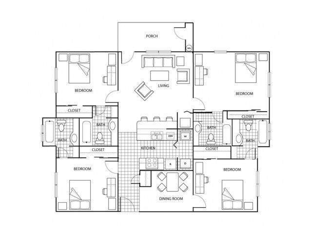 4 Bedrooms 4+ Bathrooms Apartment for rent at The Pavilion in Gainsville, FL