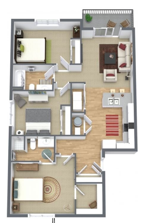 3 Bedrooms 2 Bathrooms Apartment for rent at Sawyer Pointe in Harrisburg, SD