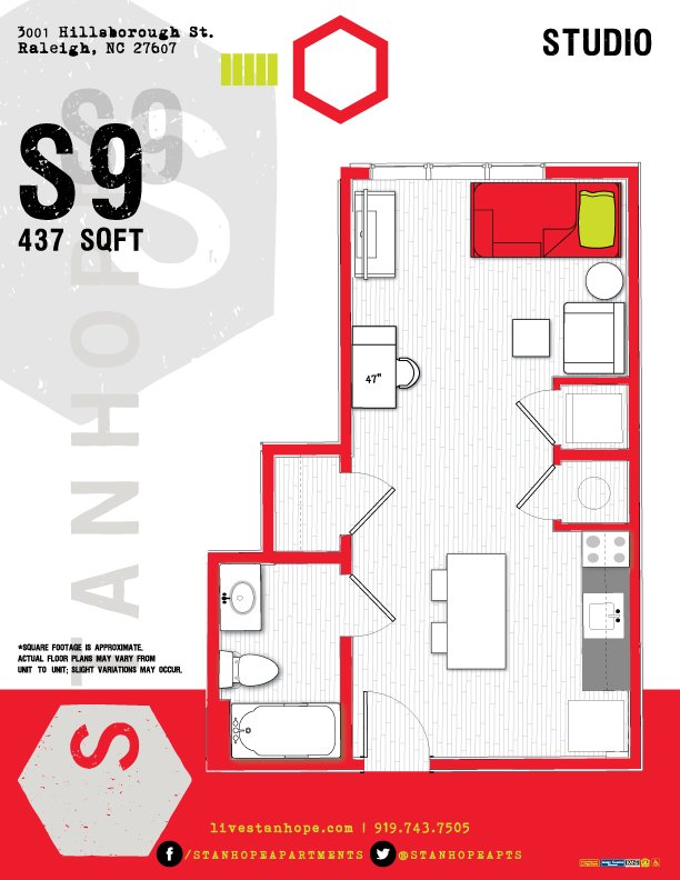 1 Bedroom 1 Bathroom Apartment for rent at Stanhope Student Apartments in Raleigh, NC