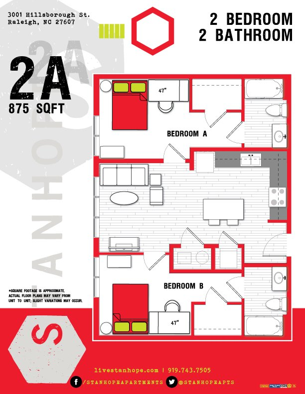 2 Bedrooms 2 Bathrooms Apartment for rent at Stanhope Student Apartments in Raleigh, NC