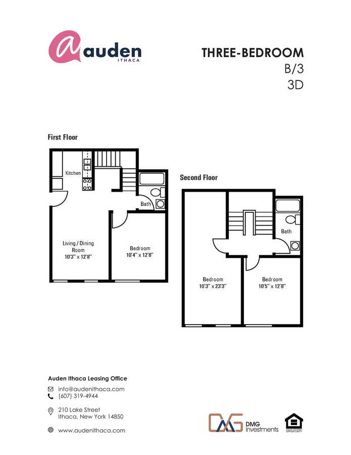 3 Bedrooms 2 Bathrooms Apartment for rent at Auden Ithaca in Ithaca, NY