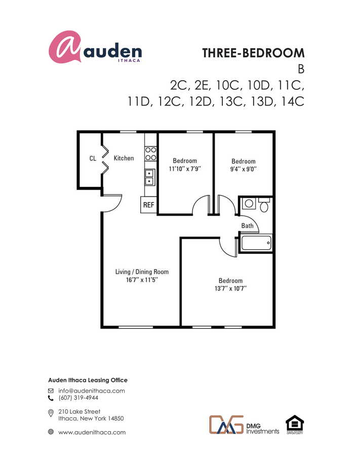 3 Bedrooms 1 Bathroom Apartment for rent at Auden Ithaca in Ithaca, NY