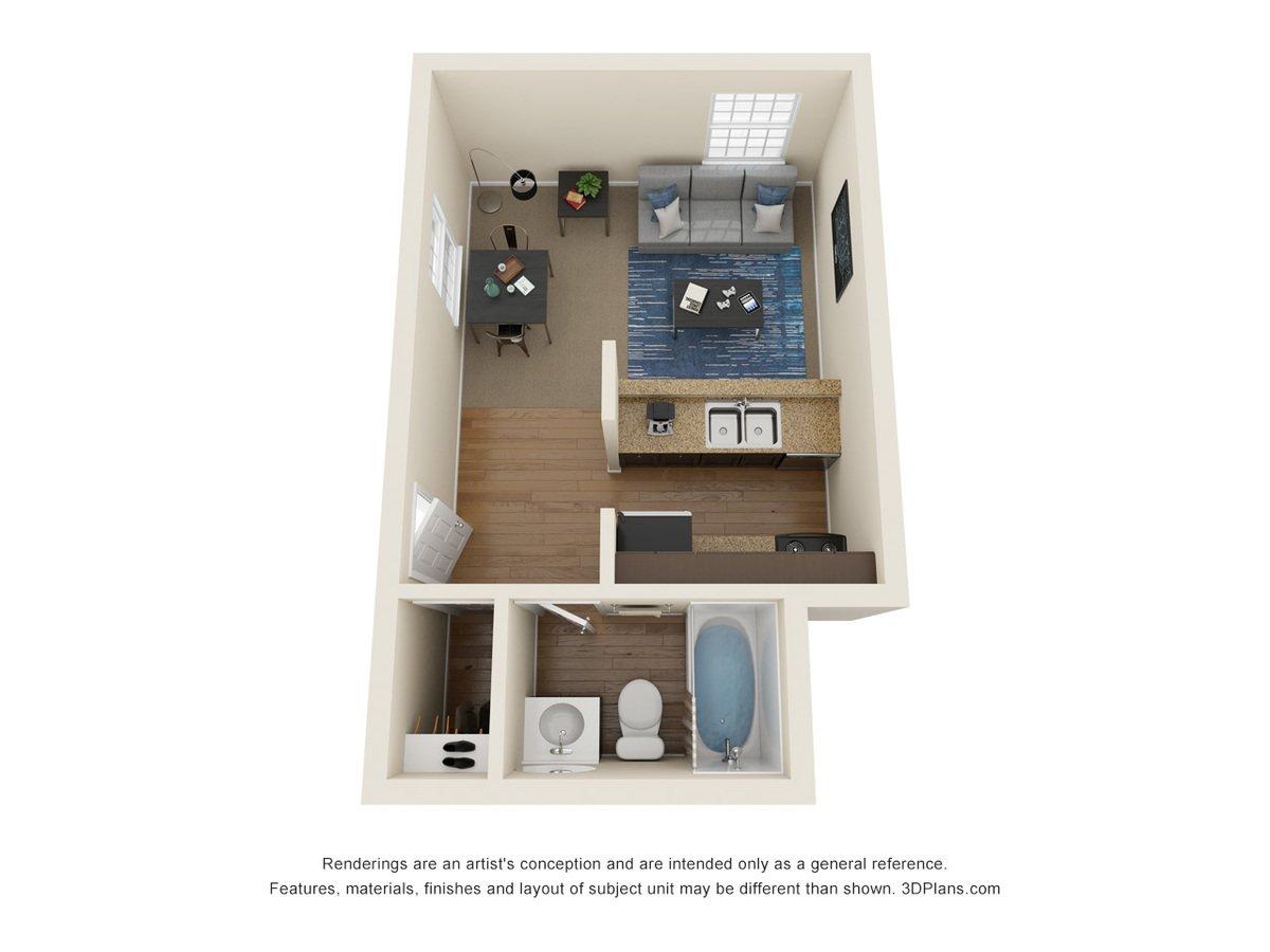 Studio 1 Bathroom Apartment for rent at La Casa Grande Apartments in Topeka, KS