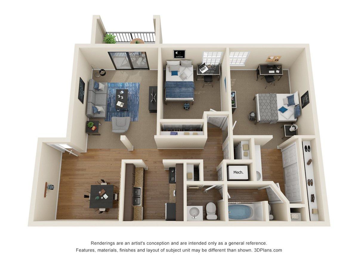 2 Bedrooms 2 Bathrooms Apartment for rent at La Casa Grande Apartments in Topeka, KS