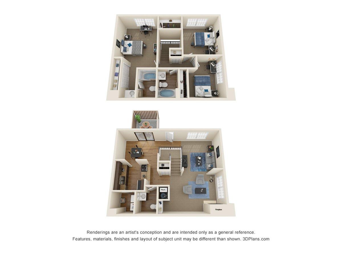 3 Bedrooms 3 Bathrooms Apartment for rent at La Casa Grande Apartments in Topeka, KS