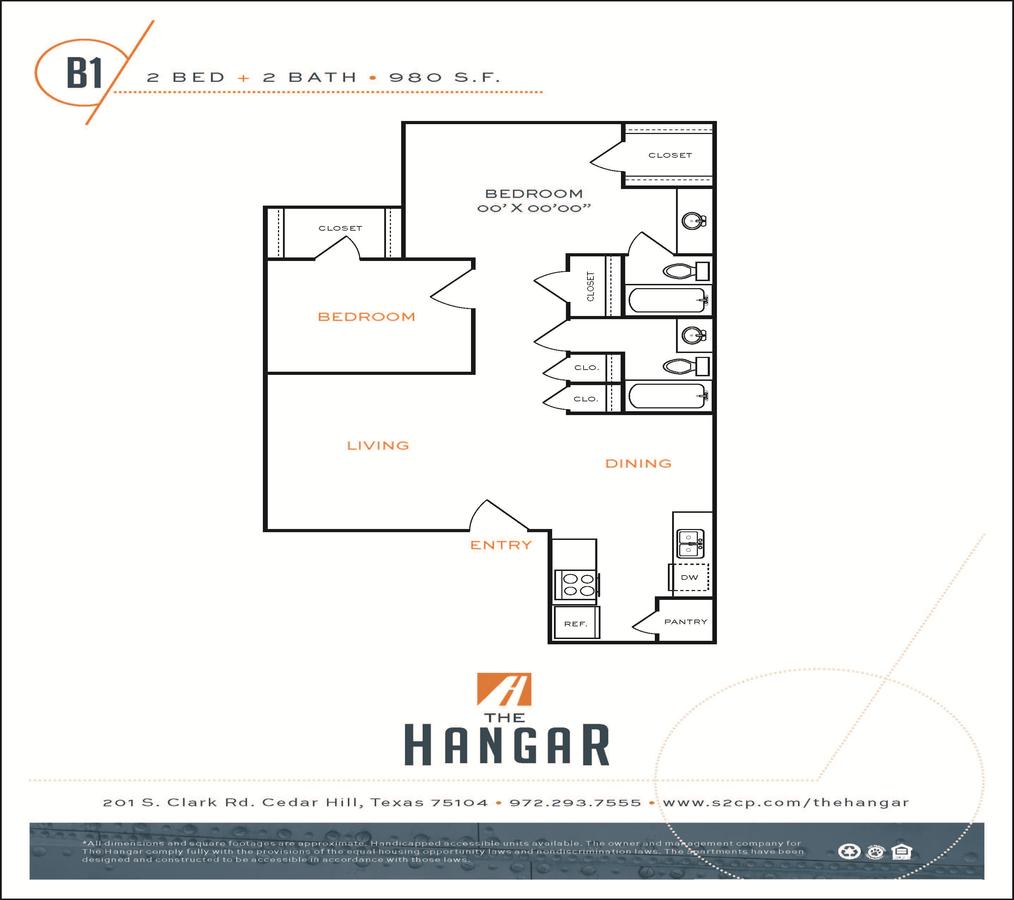 2 Bedrooms 1 Bathroom Apartment for rent at The Hangar in Cedar Hill, TX