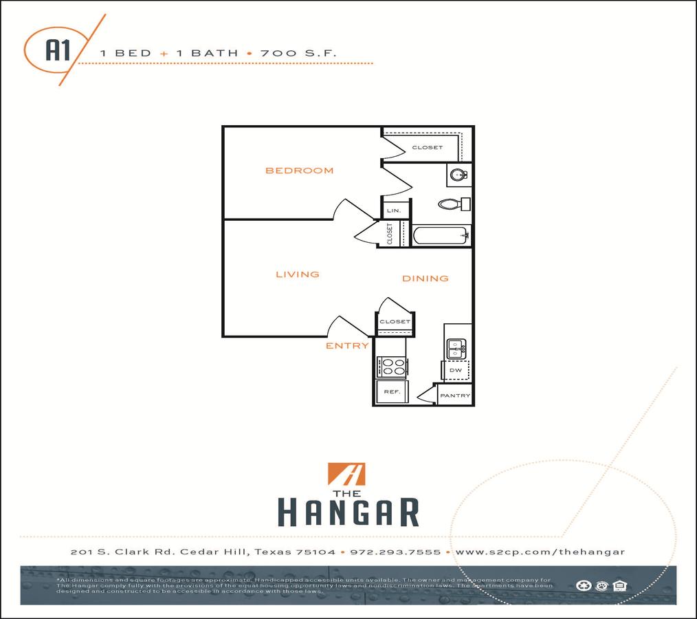 1 Bedroom 1 Bathroom Apartment for rent at The Hangar in Cedar Hill, TX