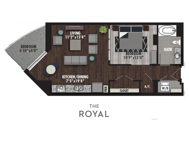 Studio 1 Bathroom Apartment for rent at The Royal in Dallas, TX