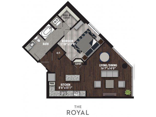 1 Bedroom 1 Bathroom Apartment for rent at The Royal in Dallas, TX
