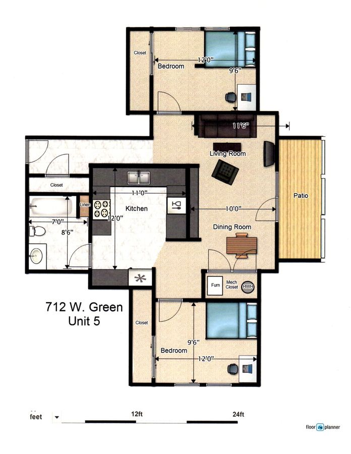 2 Bedrooms 2 Bathrooms Apartment for rent at 712 W Green St in Urbana, IL