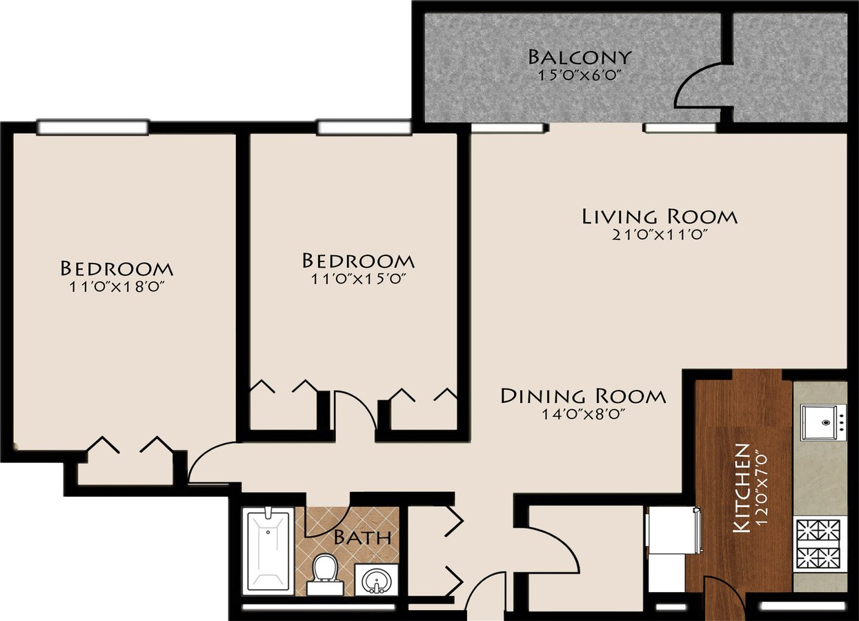 2 Bedrooms 1 Bathroom Apartment for rent at Brentmoor At Penn Center in Pittsburgh, PA