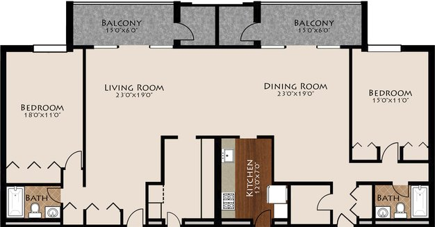 2 Bedrooms 2 Bathrooms Apartment for rent at Brentmoor At Penn Center in Pittsburgh, PA
