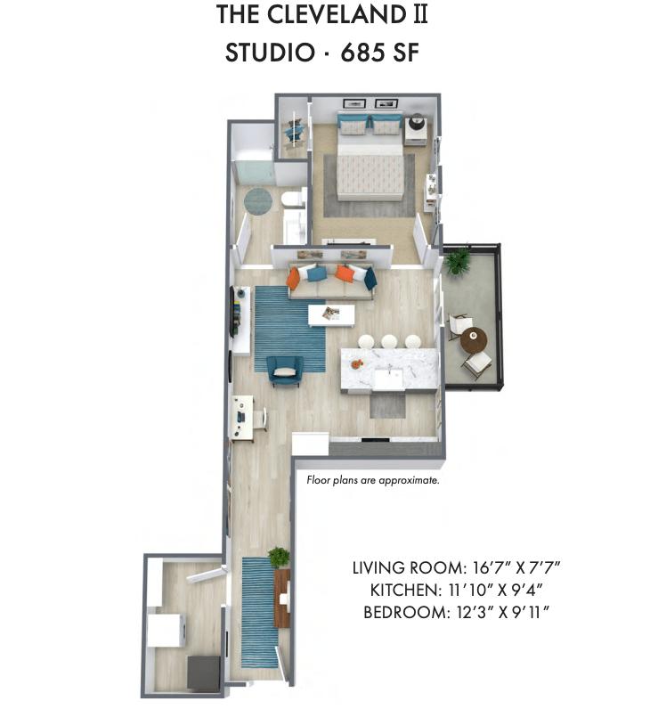 Studio 1 Bathroom Apartment for rent at Element 84 in West Allis, WI