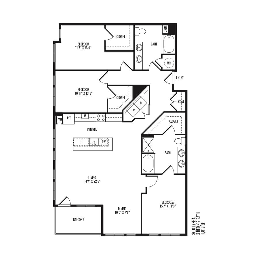 3 Bedrooms 2 Bathrooms Apartment for rent at Trivista On Speer in Denver, CO