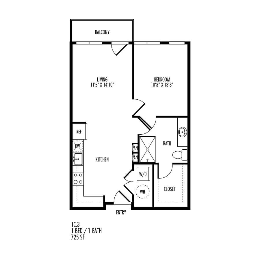 1 Bedroom 1 Bathroom Apartment for rent at Trivista On Speer in Denver, CO